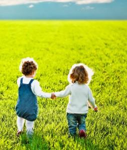 Children going on summer field